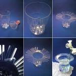 Vaso centro tavola con bottiglia riciclata