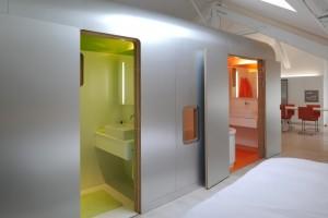 Kempart Loft Dethier Architectures capsula alluminio due bagni