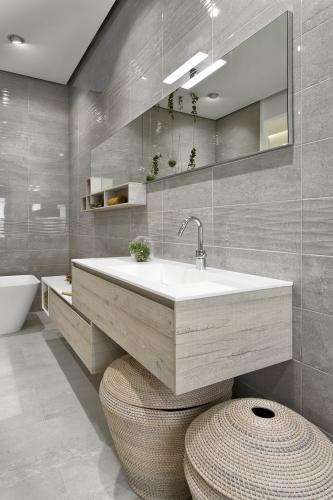 Habimat design minimal per la nuova collezione terminus - Bagno grigio e bianco ...