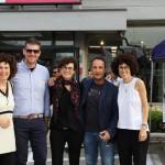 Le sorelle Bighi con i referenti dell'azienda Oikos Group