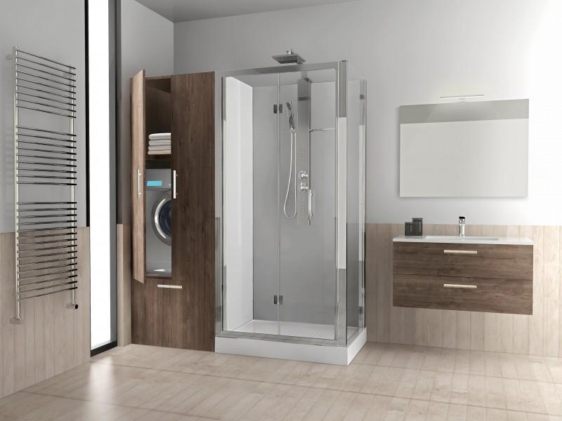 Elegant bagno moderno bagno moderno con vasca e doccia - Arredare bagno piccolo con lavatrice ...