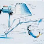 Il disegno della lampada Tolomeo di Michele De Lucchi e Giancarlo Fassina per Artemide, foto Artemide