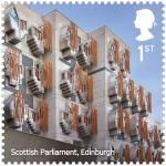 Edificio del Parlamento scozzese / EMBT, courtesy Royal Mail