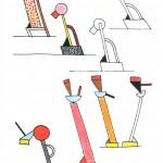 """Ettore Sottsass Rebel and Poet"" (disegni lampade Tahiti e Cavalieri per Memphis, 1981)"