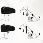 Il disegno della lampada Snoopy dei fratelli Castiglioni, ©Flos