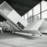 Allestimento del padiglione Rai  XLIII Fiera di Milano,  A. e P.G. Castiglioni,  1965, grafica Enzo Mari, Rai,  Courtesy Fondazione Achille Castiglioni
