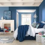 Camera da letto pareti blu