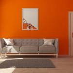 Soggiorno pareti arancio