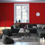 Soggiorno pareti rosse